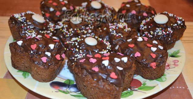 Шоколадные маффины. Из двух шоколадов — «Дуэт»