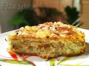 рецепт творожного пирога с сыром, овощами и зеленью
