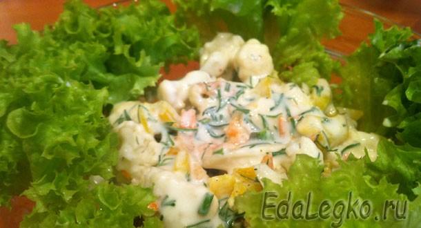 Салат из цветной капусты — со сладким перцем и морковью