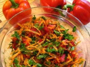 мясо под шубой в духовке - Овощная посыпка