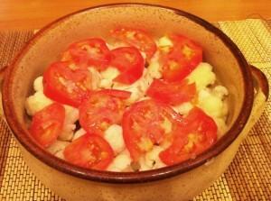 цветная капуста в духовке - слой помидоры