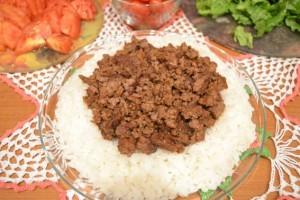 Рис с фаршем - тако рис - 2 слой