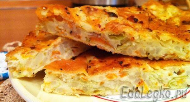Капустный пирог — ленивый вариант с молодой капустой
