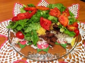 Рис с фаршем - тако рис - разрез