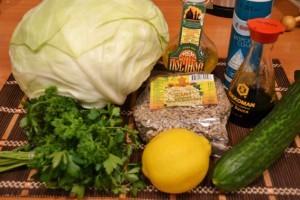 витаминный салат капуста и семечки - продукты