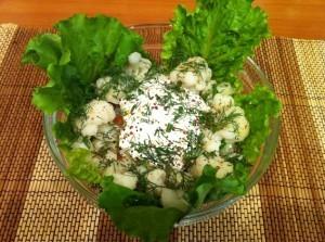 вкусная цветная капуста - простой салатик