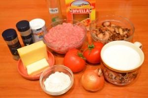 лазанья с грибами- продукты