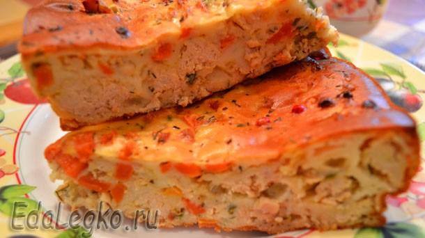 Легкий пирог — с фаршем и морковью
