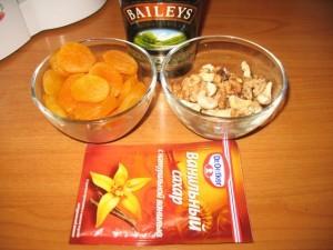 рецепт домашних конфет - курага с орехами - продукты