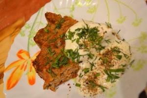 рецепт мясной запеканки - порция