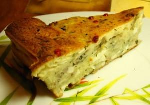 рецепт пирога с грибами - порция