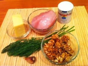салат елка - курица орехи сыр - продукты