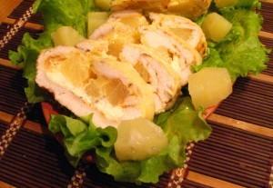 куриное филе с ананасами - порция
