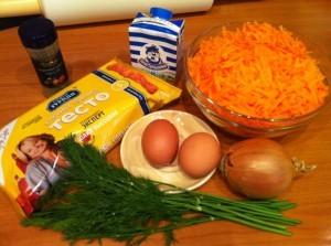 пирог с морковью - продукты