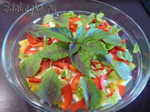 рецепты салатов с ананасом и болгарским перцем