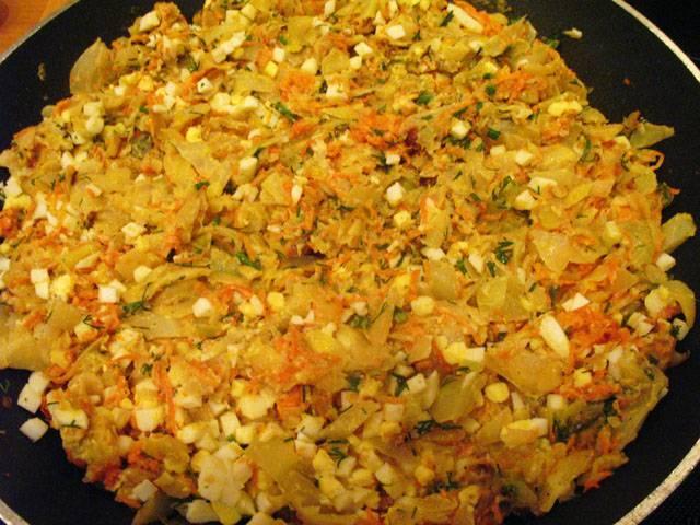 Начинка для пирожков с капустой и яйцом рецепт пошагово в духовке
