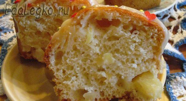 Вкусные кексы с ананасом — в белой глазури