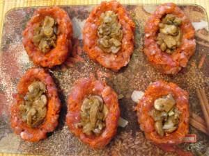 Зразы из фарша - грибная начинка - грибы