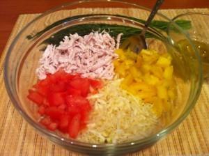 салат с капустой и курицей - компоненты
