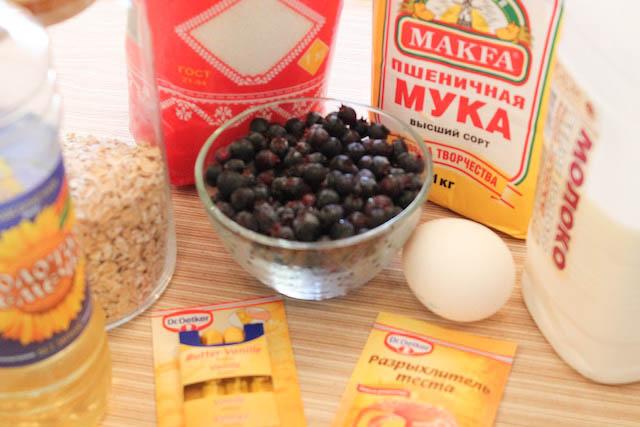 Маффины с ягодой - продукты