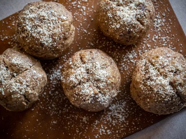 творожные булочки из ржаной муки - посыпка