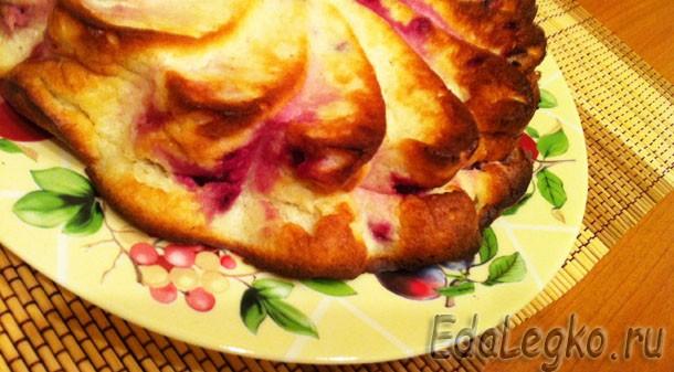 Творожный пирог с брусникой — без муки!