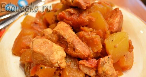 Кабачки с курицей — сочное жаркое