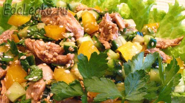 Салат с кунжутом. Полезные свойства кунжута.