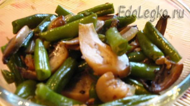 Салат из фасоли с грибами. Рецепты постных блюд.